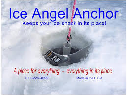 Ice angel winter ice fishing house shanty anchor tie down